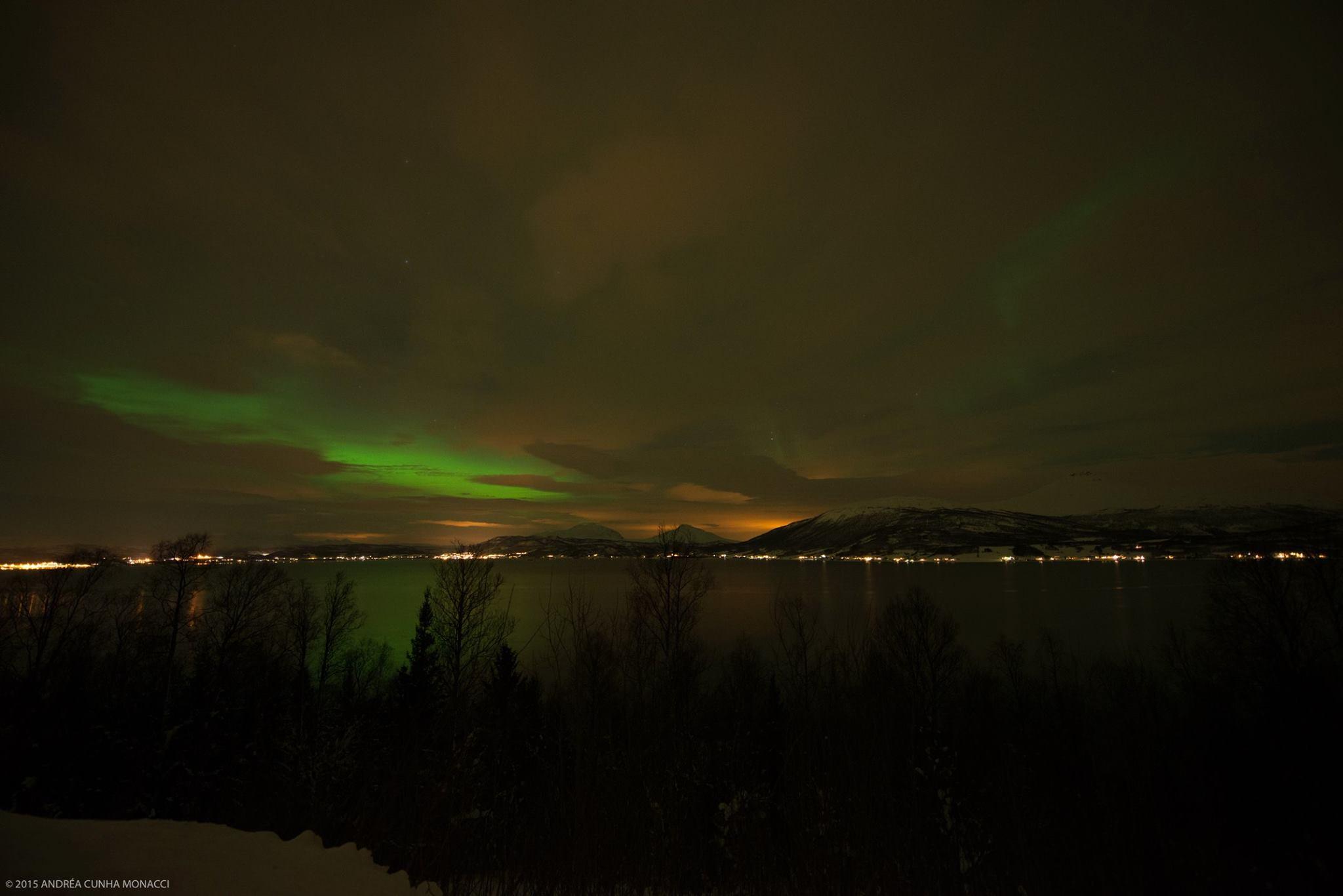 Andrea Monacci , mostrando seu talento já na priemira noite de caçada a Aurora Boreal. Madrugada deliciosa nos fjords da Noruega.