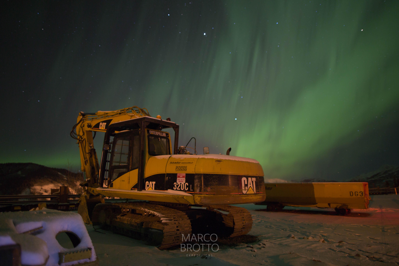 Na garagem da Alaska rail pegamos auroa boreal muito bonita.