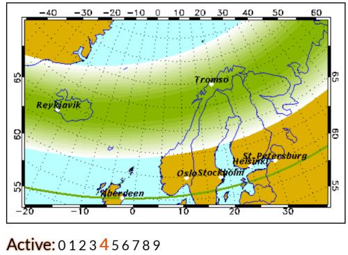 Largura do territorio daonde é possivel ver aurora boreal com um Kp4 desde que outros elementos também estejam de acordo.