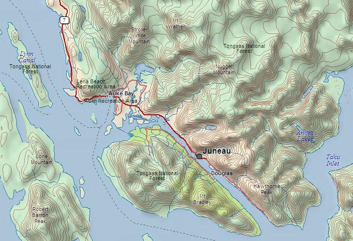Mapa da regiaão de Juneau.