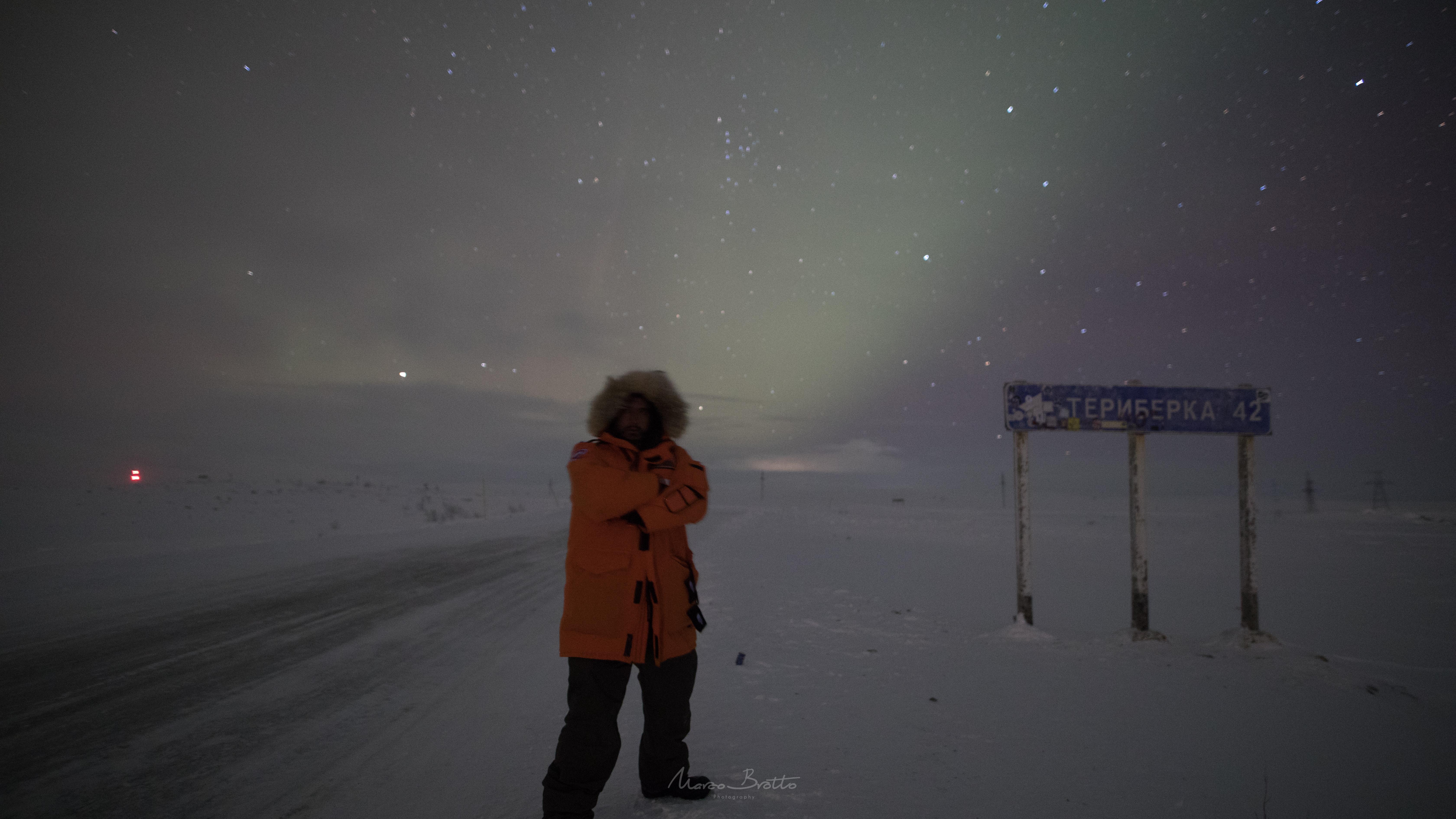 caça a aurora boreal na Rússia