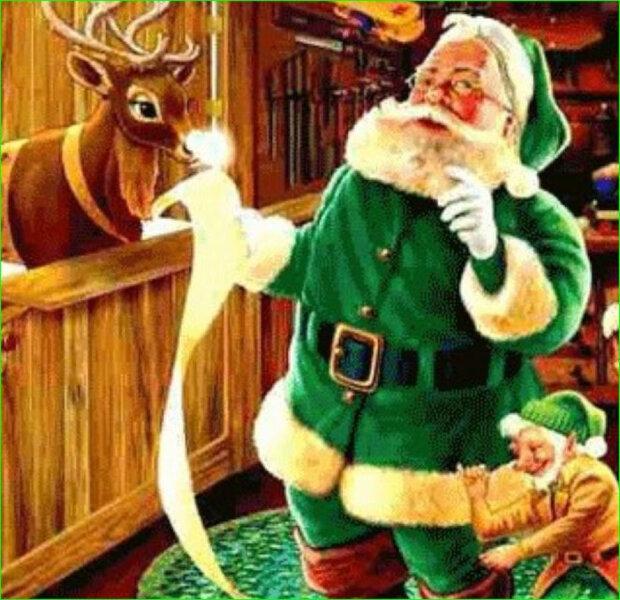 Papai Noel com roupas verdes